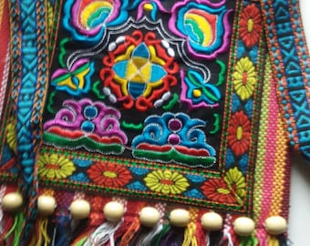 Vintage Bohemian Embroidered Fringe Festival Purse / Pouch Purse / Crossbody / Ethnic Bags / Hippie Chic