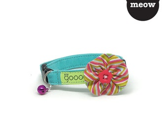 GOOOD Cat Collar | Bloomie - Colour Pop | 100% Pattern Cotton Fabric | Safety Breakaway Buckle
