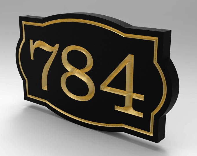 House Number Sign With Oval Sculpted Frame Personalized.