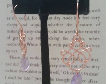 Copper amethyst filigree