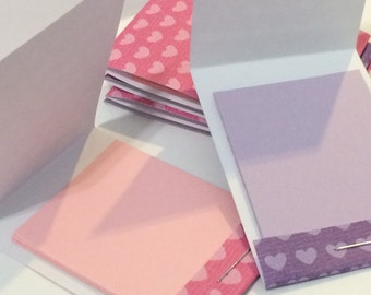 Pink & Purple Little Hearts Mini Matchbook Notepad Notebook | Set of 6 Memo Pads | Gift or Party Favor | Stocking Stuffer