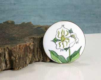 de Passillé-Sylvestre Wildflower Brooch - 1960s Enamel on Copper Wild Flower Pin - Signed Early de Passillé Sylvestre Jewelry - Trillium Pin