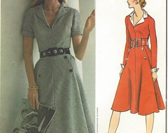 1970s Molyneux Womens Dress with Bias Front Panel Long or Short Sleeves Vogue Sewing Pattern 2627 Size 12 Bust 34 FF Vogue Paris Original