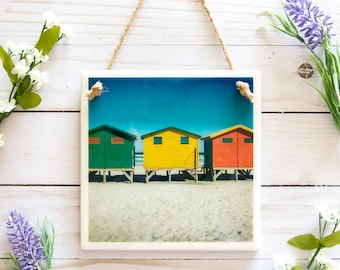 Cape Town South Africa, beach bathroom decor, colorful travel photography, ceramic tile wall art, Cape Town photography, ocean art tile sign