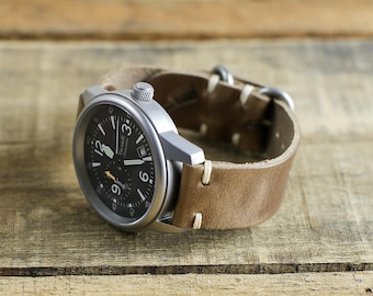 Leather Watch Strap // Horween Leather Natural Chromexcel // Polished Loop Hardware