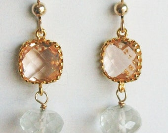 Peach earrings - Drop Earrings - Amethyst Earrings - Prasiolite Earrings - Dangle Earrings - Gold Filled Earrings - Wedding Jewelry - Peach