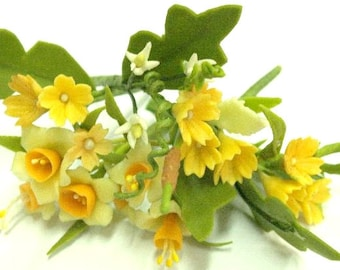 Miniature Polymer Clay Flowers Daffodil Bouquet Supplies for Dollhouse and Handmade Gifts 12 bunches