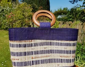 Vintage straw weave summer handbag- handwoven