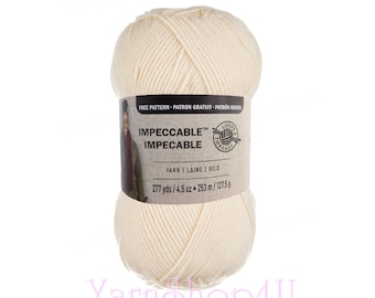 ARAN Impeccable Loops and Threads Yarn. Aran is an off-white or antique white color. 100% acrylic great for hats, scarves, blankets and more