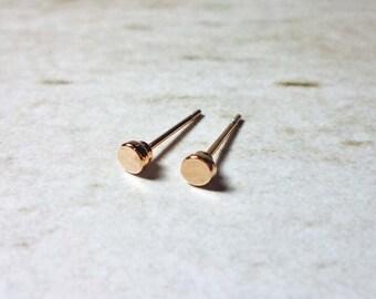 Rose Gold Dot Stud Earrings 4mm, Dainty Earrings