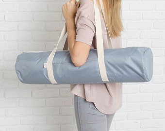 Yoga mat bag with pocket / Silver W Foyo / free shipping
