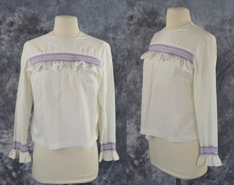 1970s White Long Sleeve Blouse with Purple Embroidery on Bust