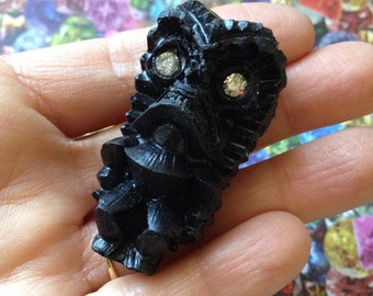 Tiki Brooch Pin - Black Lucky Tiki With Swarovski Rhinestone Crystal Eyes - Luau Hawaiian Kitsch - Retro Vintage