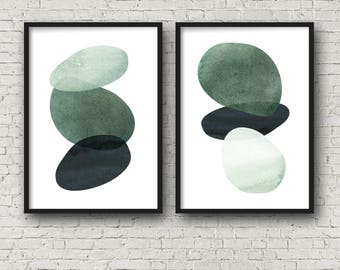 Abstract Art Modern Art Green Abstract Art Print set Digital art print instant download 11x14  16x20 mid century modern minimalist set of 2