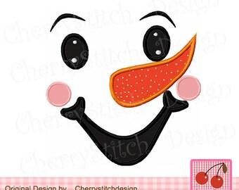 Snowman face Snowman boy Winter Machine Embroidery Applique - approxiamte 4x4 5x5 6x6 inch-Machine Embroidery Applique Design