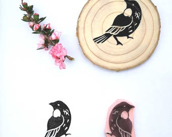 Hand carved rubber stamp NZ tui