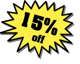Purchase 30.00 or more and use Coupon Code: 15DISCOUNT to receive a 15 percent discount (do not purchase this listing - use coupon code)