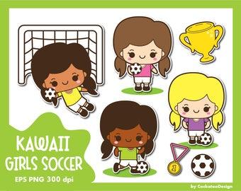 30% OFF, Soccer clip art, football clipart, kawaii soccer clipart, kids football clipart, sport clipart, girls sport clipart, Commercial Use