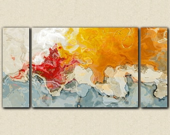 "Large abstract wall art stretched canvas print, 30x60 to 40x78 in red, orange, blue and white, from abstract painting ""Together Again"""