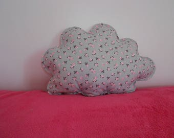 Removable gray and pink cloud pillow