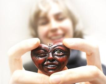 Dark red happy heart pendant, OOAK art jewelry, original artwork as a unique pendant, funny sculpture portrait of a smiling heart