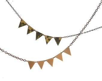 SALE  Geometric Modern Triangle Recycled Necklace