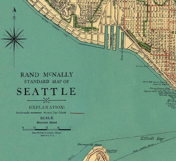 Old map of Seattle Antique map Vintage map Seattle map