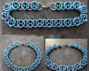 Celtic Visions Bright Silver and Sky Blue Aluminum Chainmaille Bracelet