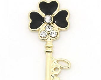 "beautiful key pendant ""love"" metal gold rhinestone and enamel noir32 * 14mm approx."