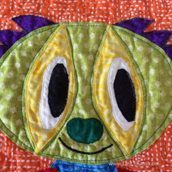 Handmade Quilted Walfl Hanging Monster Appliqued Wall