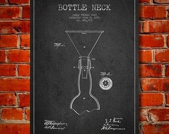 1891 Bottle Neck Patent, Canvas Print,  Wall Art, Home Decor, Gift Idea