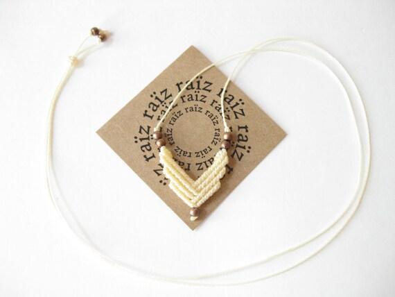 Small Chevron Macrame Necklace . Fiber Jewelry Geometric Pendant . Modern Boho Chic . by raïz