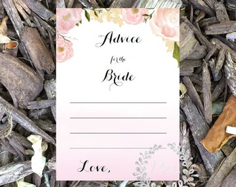 Instant Download- Advice for the Bride, printable game, Wedding shower game, bridal shower game, bridal shower, soft pink roses