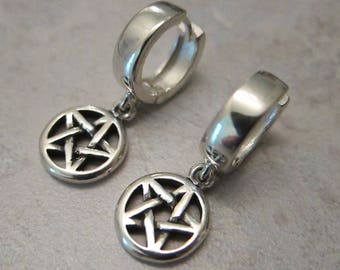 Pentacle Earrings, Sterling Silver, Latch Back Hoops; Wiccan, Witch, Protection; Religious, Hoops - Earth Element - by Silla - SSPHE1