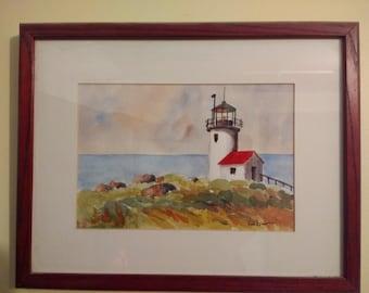 "Original watercolor painting of Lighthouse 6x9"", not including matt/frame"
