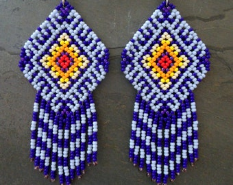Mexican Huichol Earrings Blue Purple Red Yellow