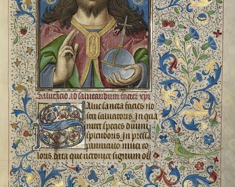 "Willem Vrelant Illumination : ""Leaf from the Arenberg Hours"" (early 1460s) - Giclee Fine Art Print"