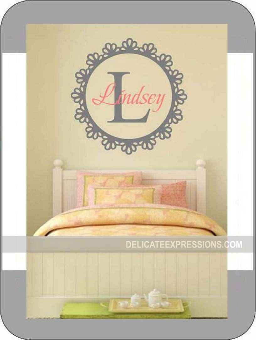 Personalized Wall Decal Girls Wall Decal Nursery Bedroom Monogram ...