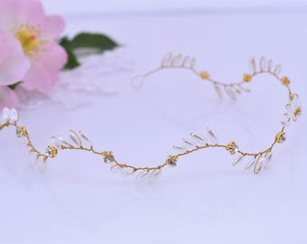 Rose Gold Hair Vine, Pearl Hair Piece, Bridal Headpiece, Wedding Wreath, Crystal Circlet, Rhinestone Wreath, Bridesaids Hair Jewelry