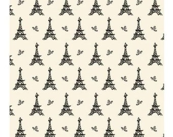 """Small wonders by Mary Fons:  France Eiffel tower fabric fabric  100% cotton Fabric by the yard 36""""x43""""  (SC156)"""