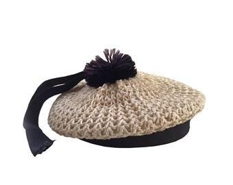 Child Girls' Straw Beret Hat / Natural Girl's Straw Hat / Girl's Vintage Easter Hat / Girl's Straw Beret Photo Prop Broadway