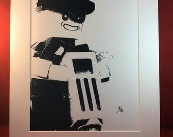 Lego Construction Worker Portrait, original art print, toys, nostalgia, child at heart