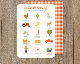 Scavenger hunt game, kid's party game, FARM kid game, apple picking, Fall