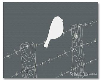 Bird Printable Bird Wire Fence Design Digital Art Design Instant Download Gray White Art Grey White Print Barn Art Rustic Wall Printable