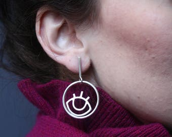Eye in a Hoop Earrings, Sterling Silver Jewelry, Modern Circle  Graphic
