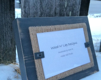 Thick Distressed Wood Picture Frame, Gray with Burlap, Rustic, 4 x 6 Frame