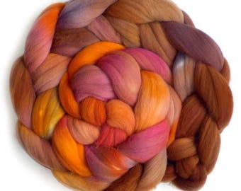 Rambouillet Hand Dyed Roving Combed Top Spinning Fiber - Warm Glow, 5.2 oz.