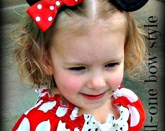 Minnie Mouse Ear Hair Clips...With a Bow...Custom Sewn...size SMALL...You Pick Her Bow Color...Small, Large Available