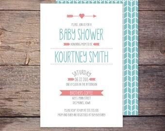 Modern Baby Shower Invitation Pink and Blue Gender Neutral Girl or Boy Shower Invite DIY Printable Digital File KOURTNEY