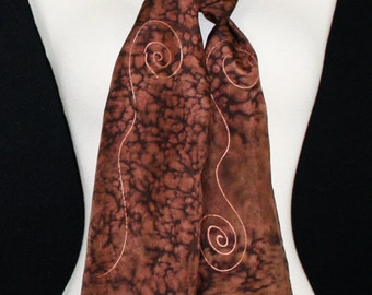Hand Painted Silk Scarf. Brown Handmade Silk Scarf CHOCOLATE LEOPARD. Size 8x54. Anniversary Gift, Mother Gift. Gift-Wrapped.
